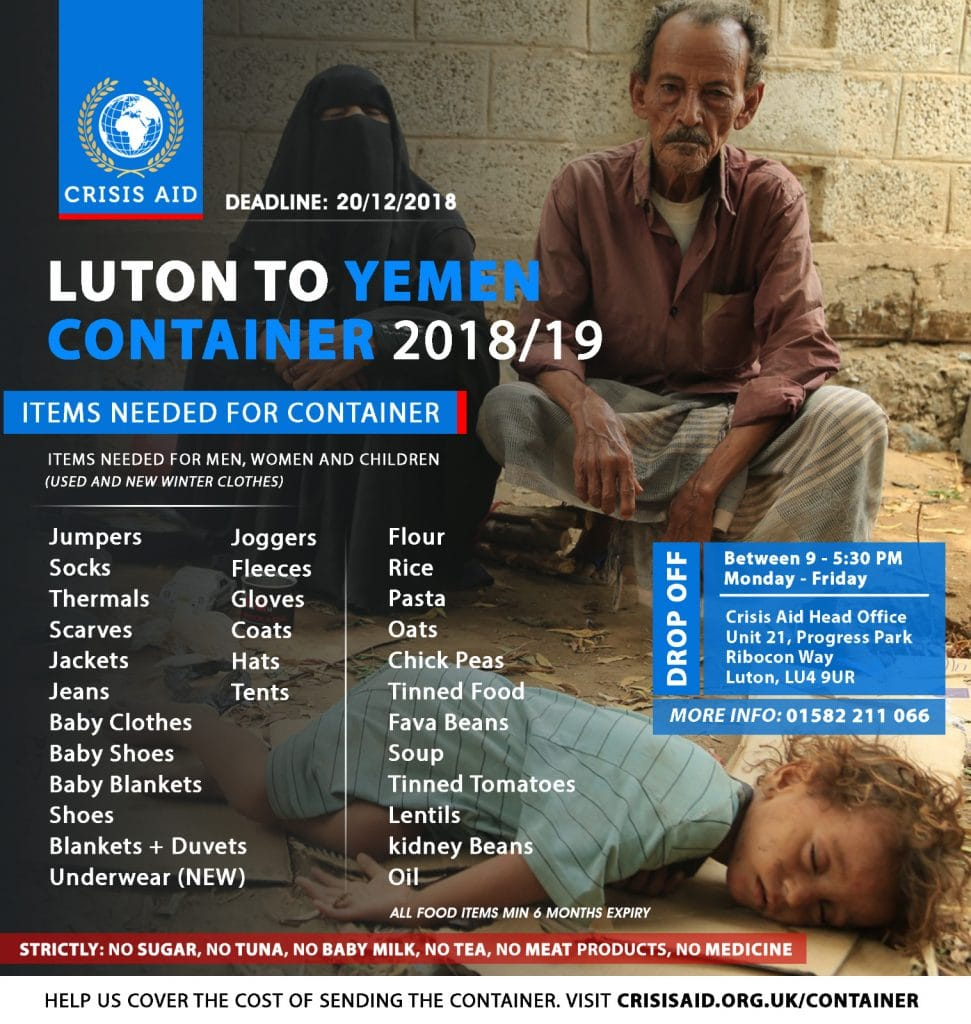 Luton To Yemen Container 2018/19